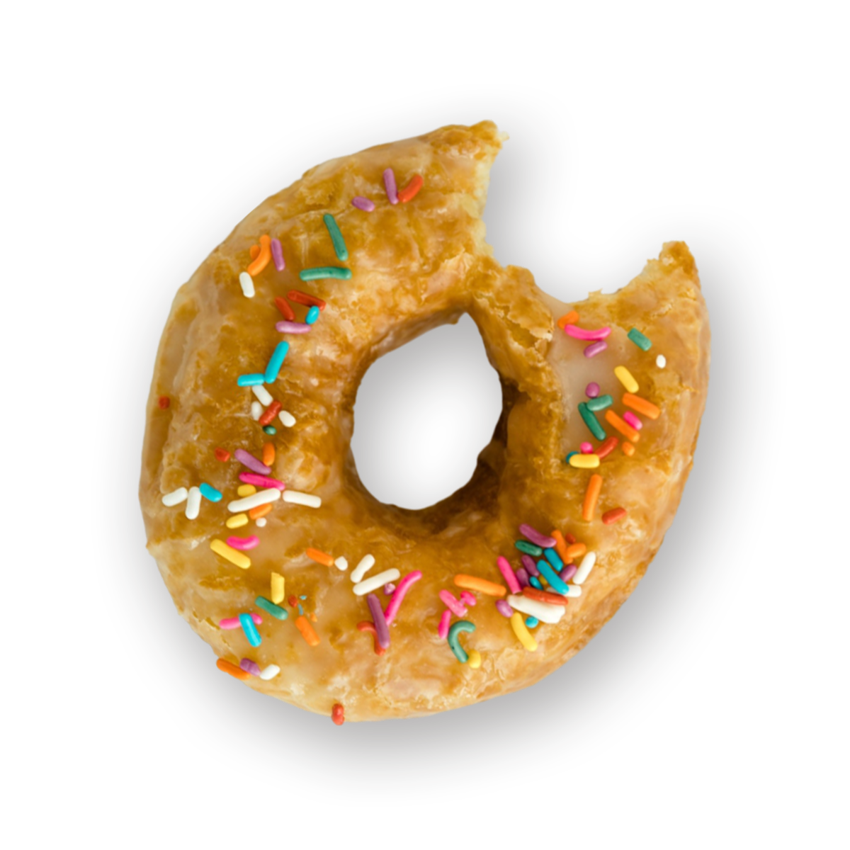 Sprinkle donut with a bite taken out