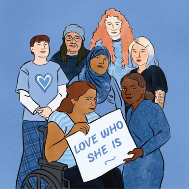 An illustration of seven different women standing together