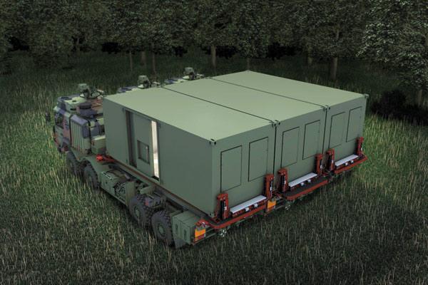 Betriebsbereiter gekoppelter Gefechts- und Leitstand für das Taktische Luftverteidigungssystem.