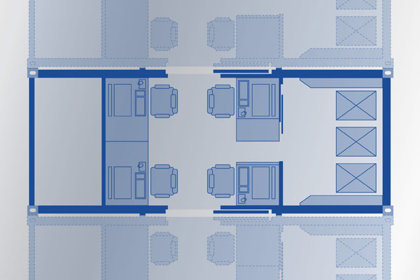 Beispielhafter Grundriss des Base Module mit Technik-, Bediener- und Serverraum (v.l.n.r.)