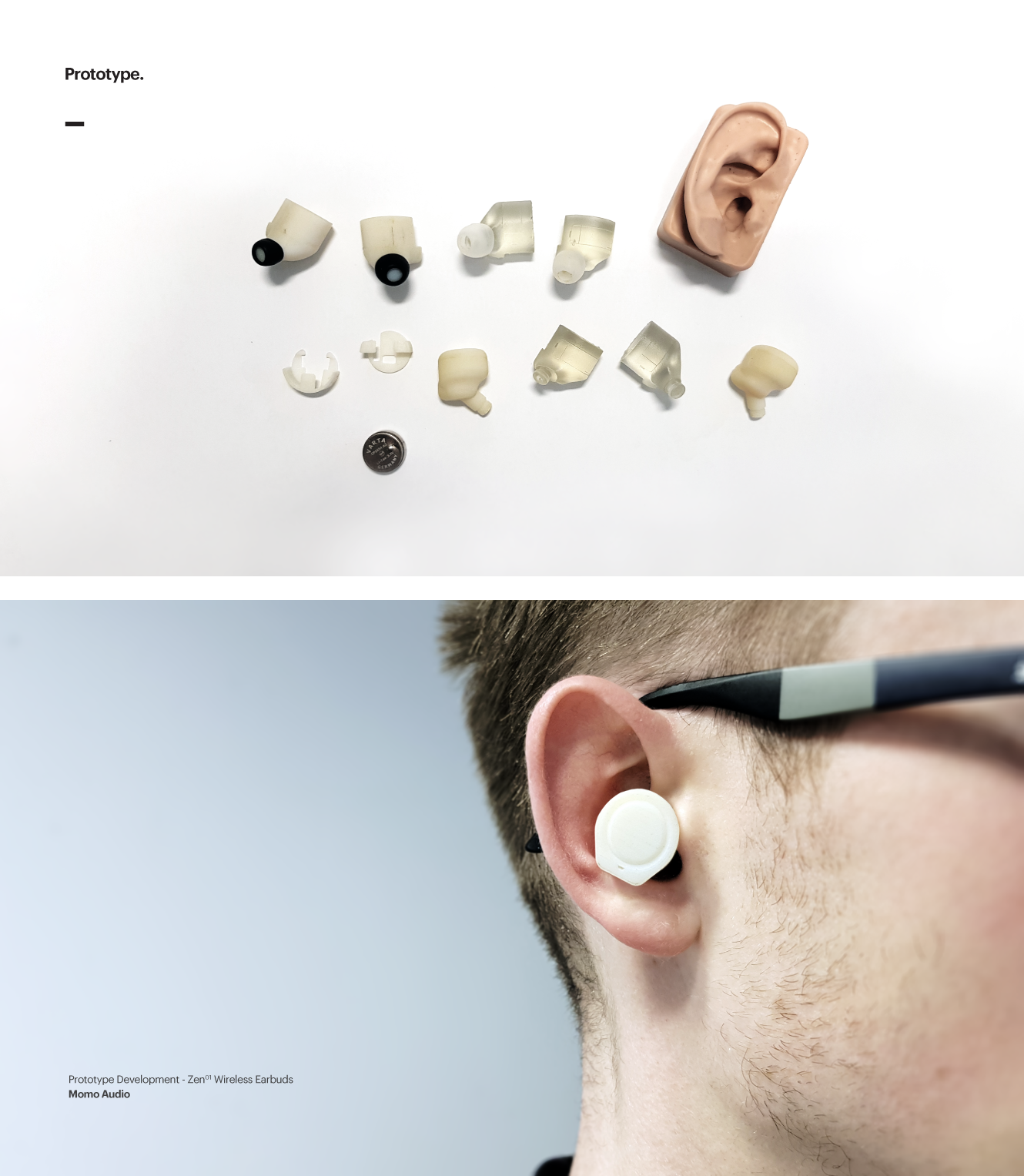 Iterative prototyping of Zen 01 wireless earbud