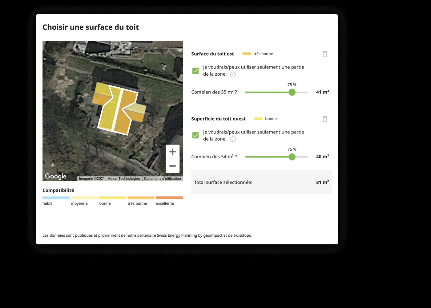 Calculateur solaire – Compatibilité du toit