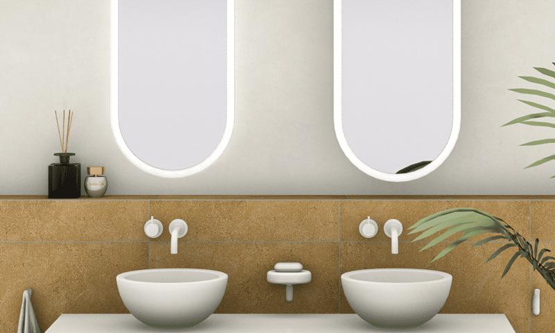 Aménagement de la salle de bain: lumière LED sur le miroir