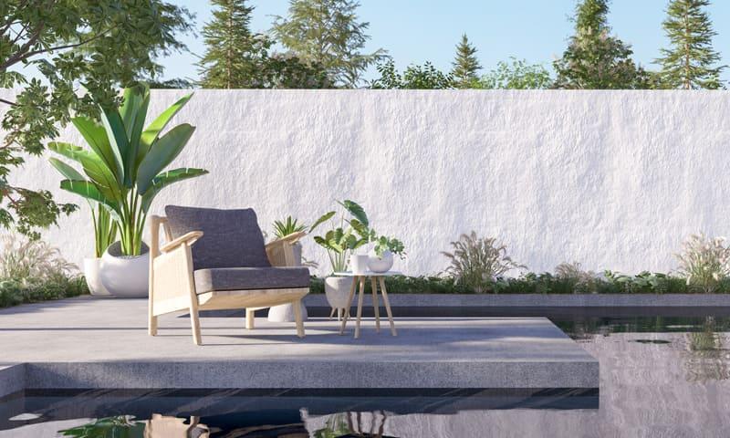 Revêtement de sol - coin salon de jardin avec dalles en béton