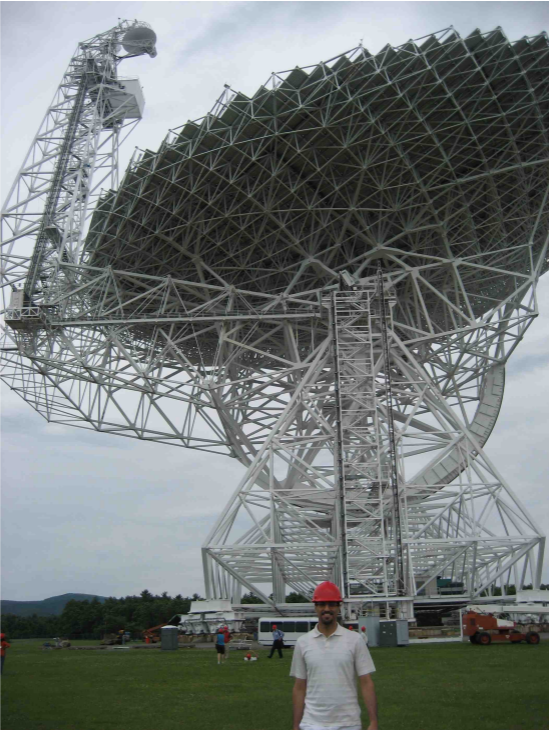 Dr. Hajian in front of the Green Bank Telescope, the largest steerable radio telescope on Earth.
