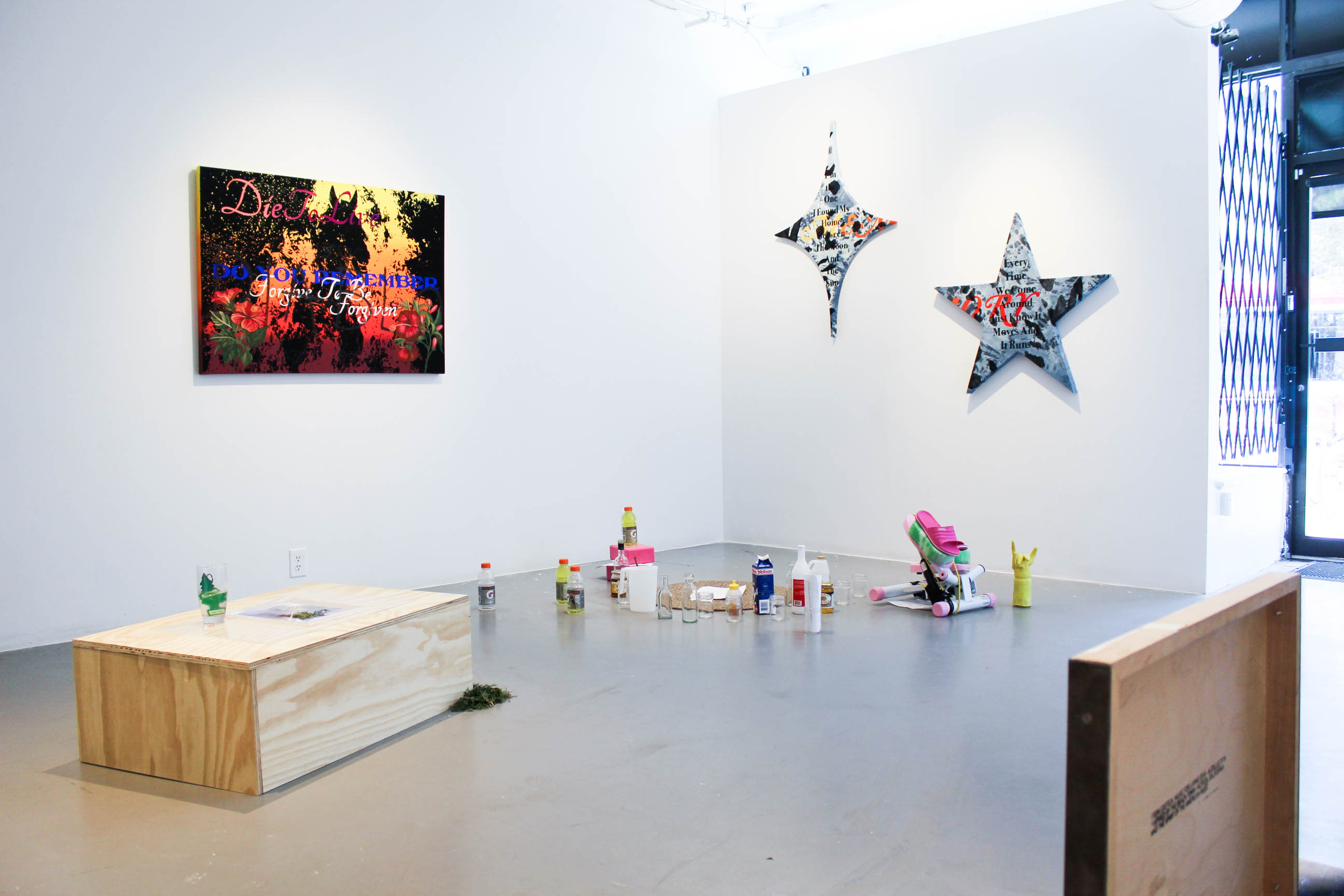 An installation view of an art exhibition in a bright gallery space. Rectangular and star-shaped paintings hang on the walls, and a variety of objects are on the floor, including a wooded crate, plastic drink bottles, cleaning products, and exercise equipment.