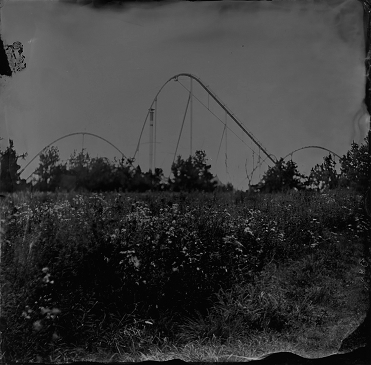 A tintype image of a rollercoaster rising behind an overgrown field.