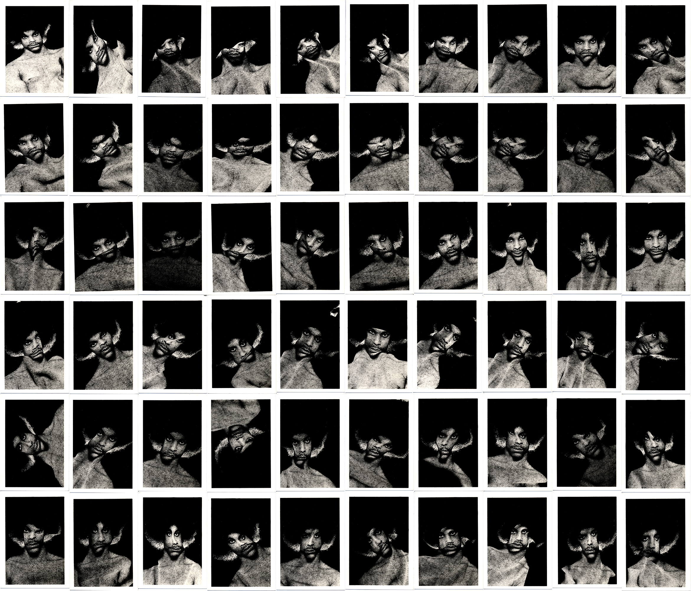 A grid of 60 manipulated scans of and image of pop musician Prince.