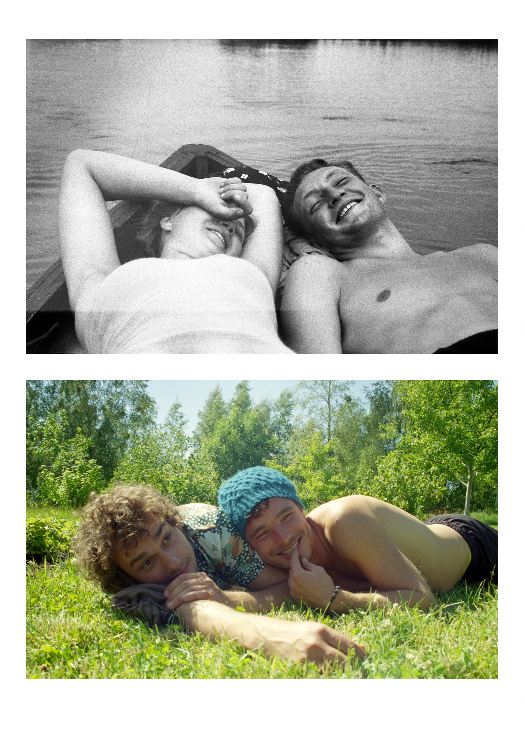 A diptych of similar images, old black and white on the top and colour on the bottom. Both depict two people lounging together outdoors.
