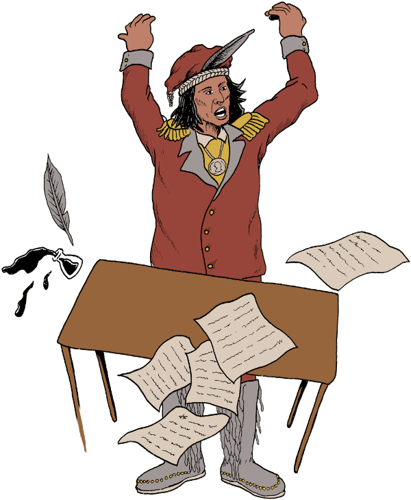 Tecumseh flipping a table.