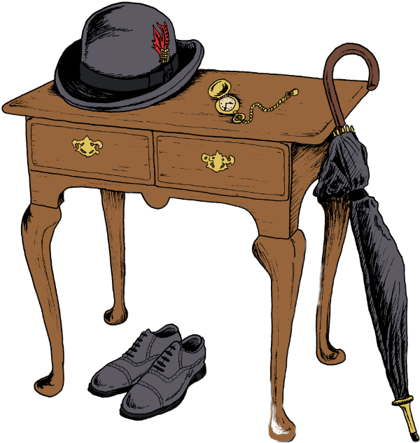 A table with gentlemanly attire around it.