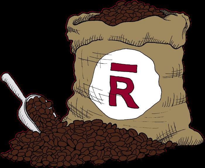 A sack of Rōsted coffee beans.