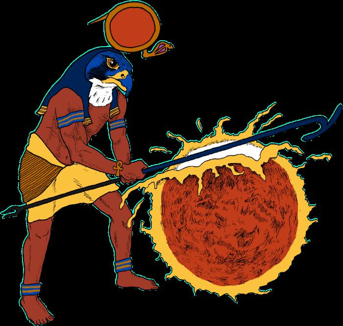 Egyptian crushing the sun.