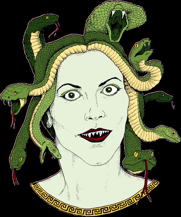 Medusa, a woman with snakes for hair.