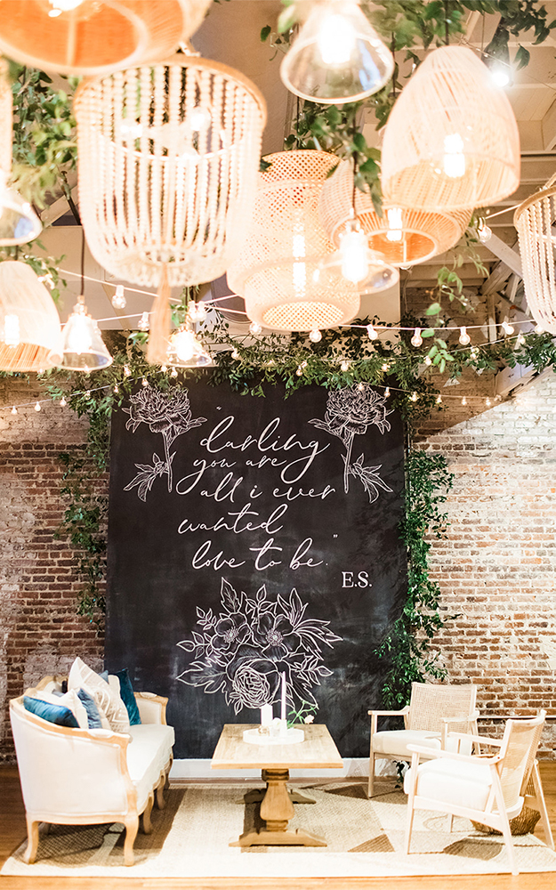 chalk wall seating area