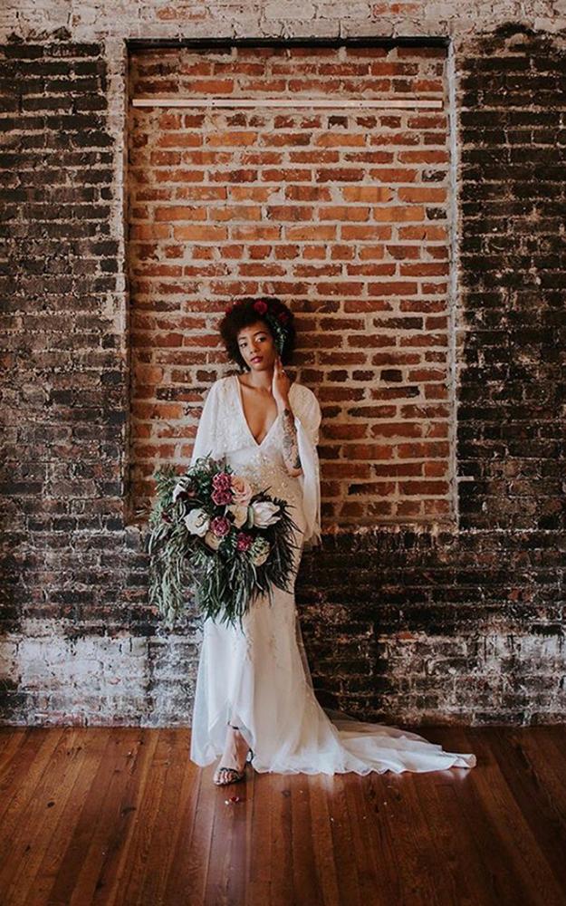 bridal portrait against brick