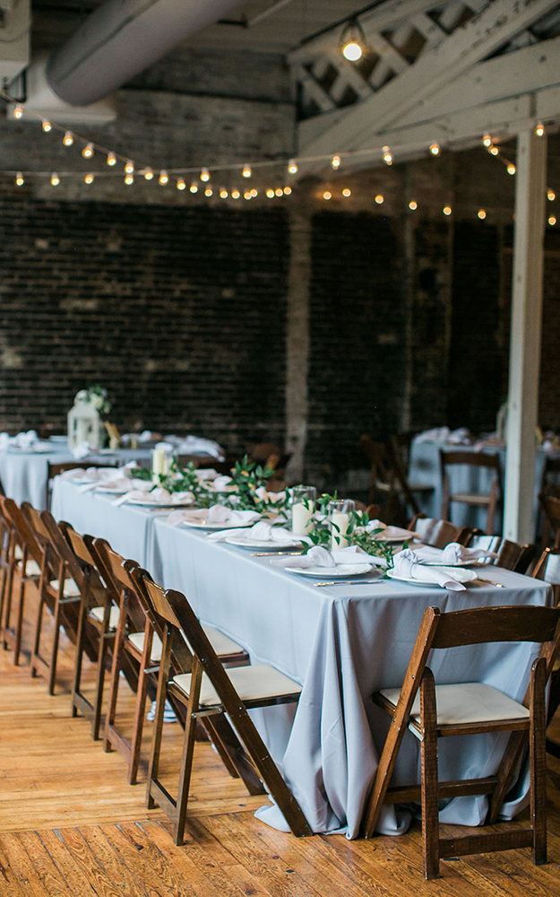 reception long table in blue