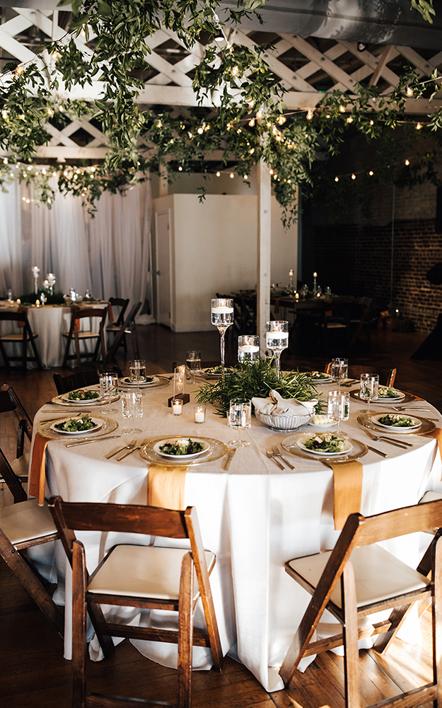 reception with white tablecloths