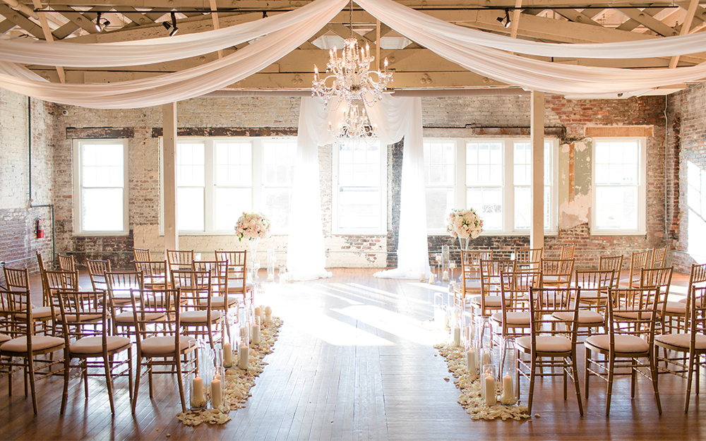 ceremony set up with chandalier