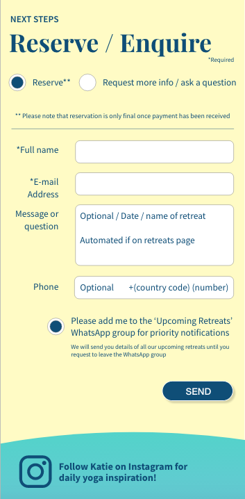 Mobile view of the lead gen form