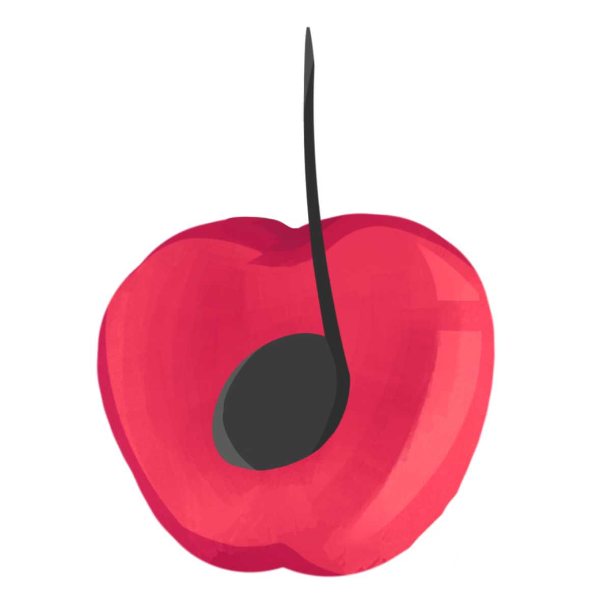 A quarter note overlaid on a cartoon apple
