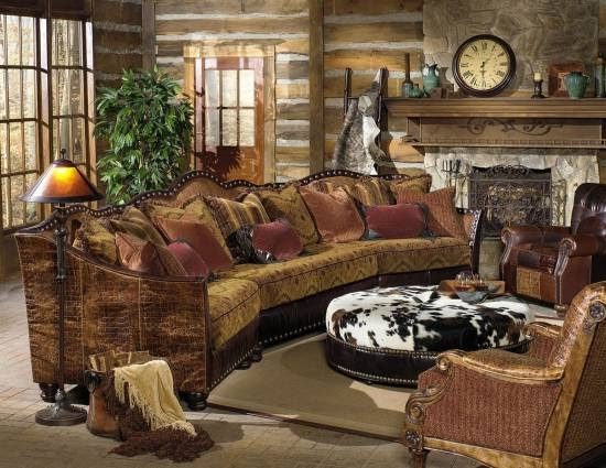 A ranch house living room with western accents, including neutral colors and natural materials