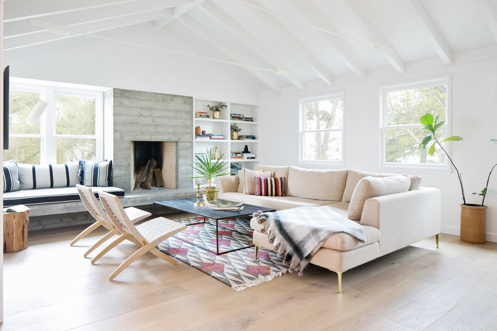 A ranch house living room with Scandinavian design elements