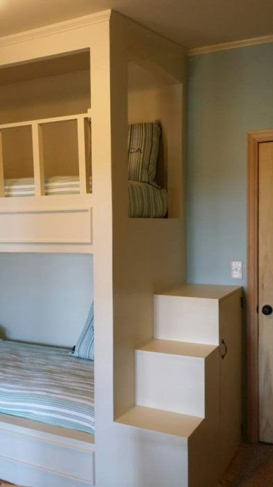 A manufactured home remodel with bunkbeds, maximizing the vertical space of the room