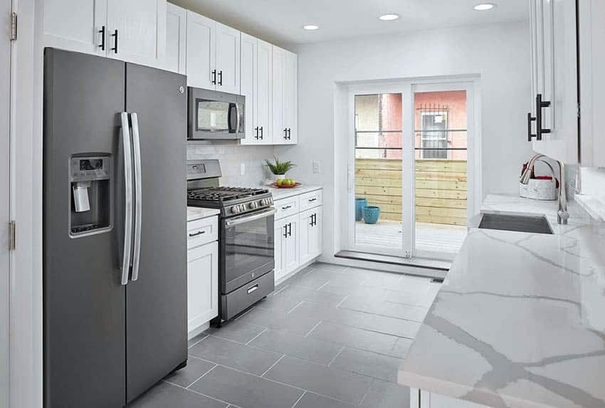 A galley kitchen remodel with new appliances