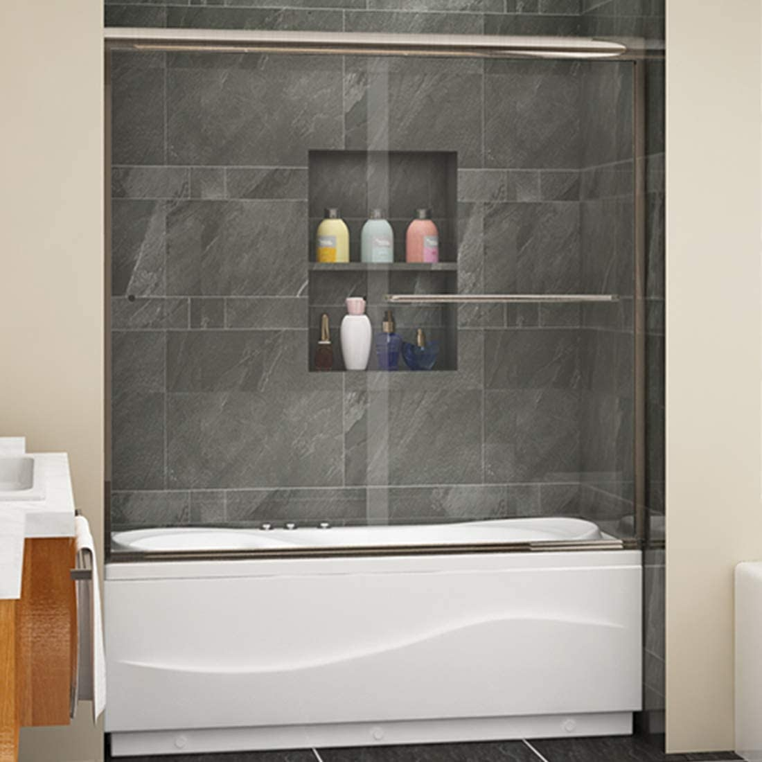 A shower tub remodel with a built-in wall niche