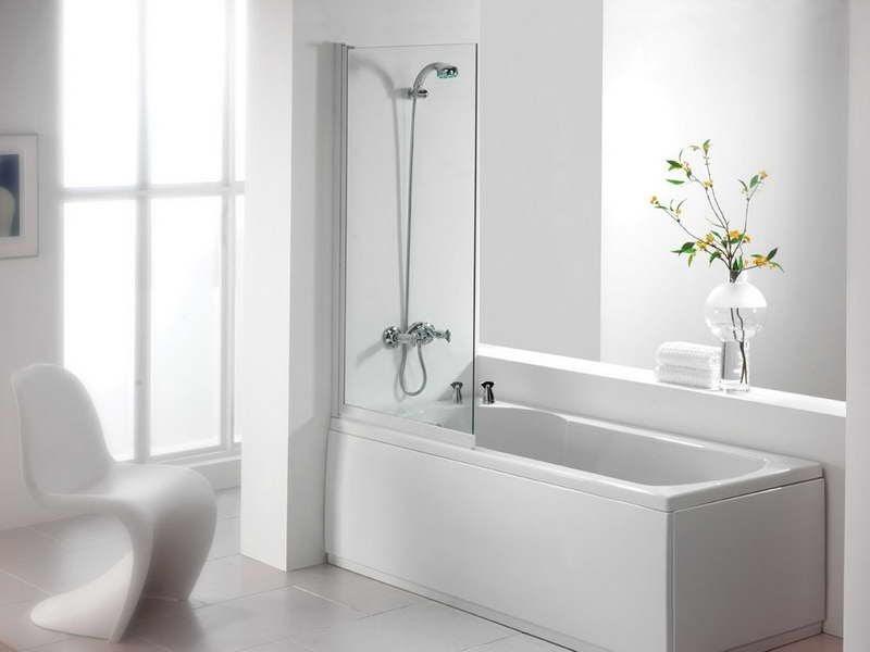 A shower tub remodel in an all white, avant-garde bathroom
