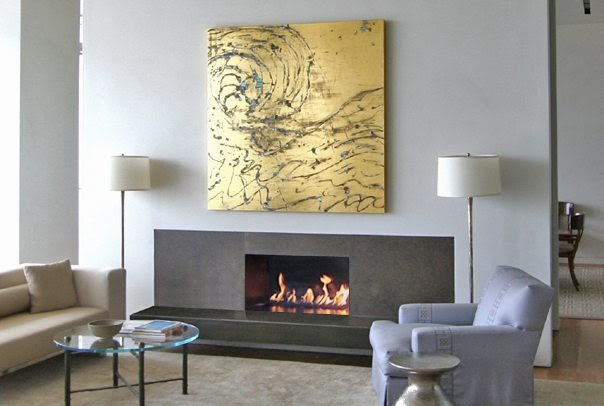 A low-rise, modern fireplace remodel