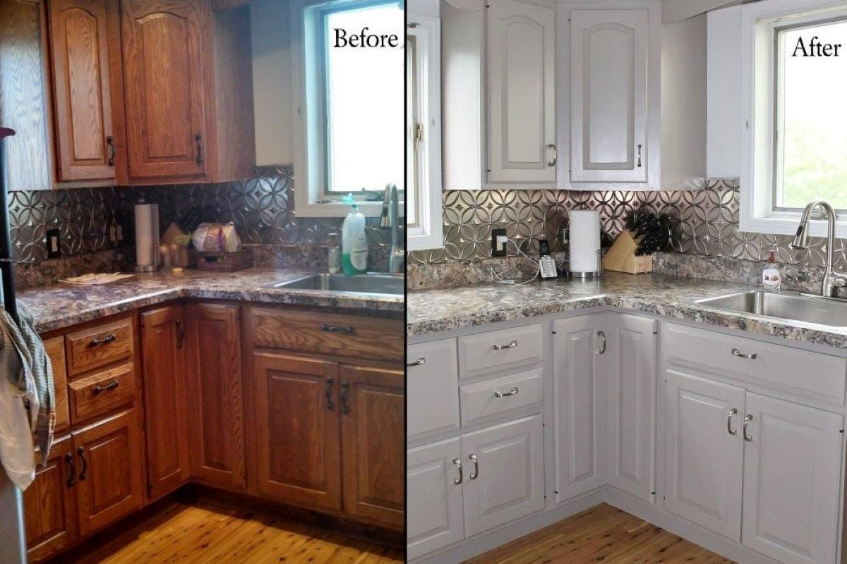 A side-by-side image of a kitchen before and after the cabinets were painted white.