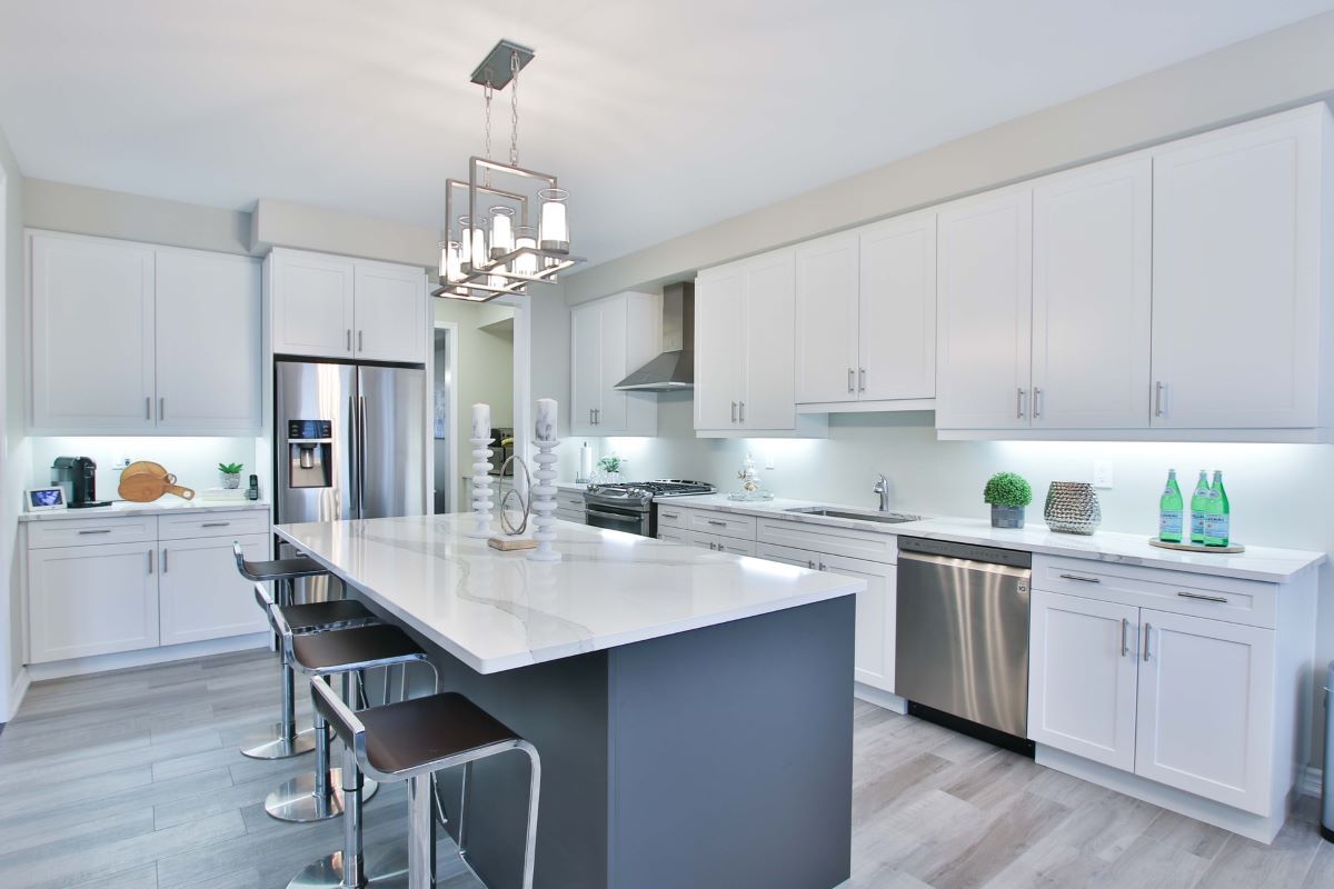 Beautiful, modern kitchen with whites and greys