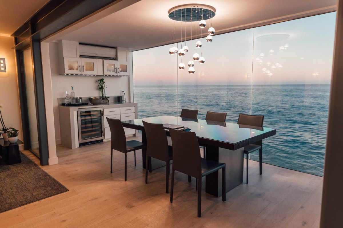 A Well Lit Kitcen with an Ocean View