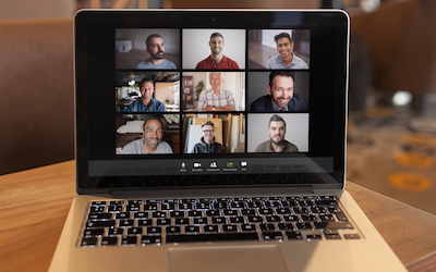 A zoom meeting in gallery view