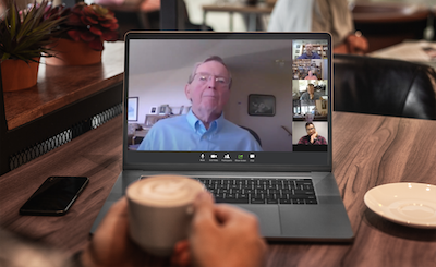 A zoom meeting in speaker view