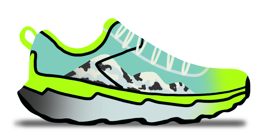Illustrated shoe depicting mountains