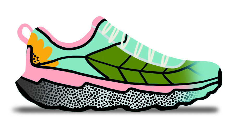 Illustrated shoe depicting a flower and a leaf