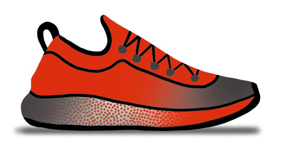 Illustrated orange shoe