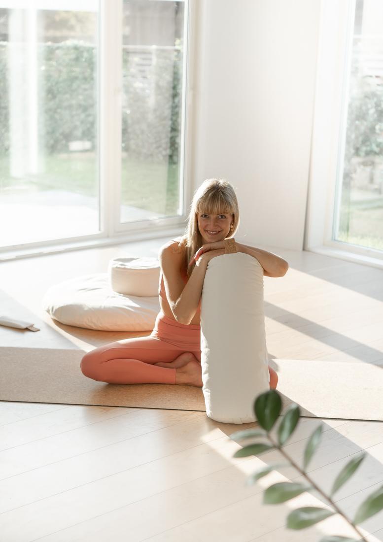 yoga bolster økologisk bomull cylinger bolster hvit yogabolster