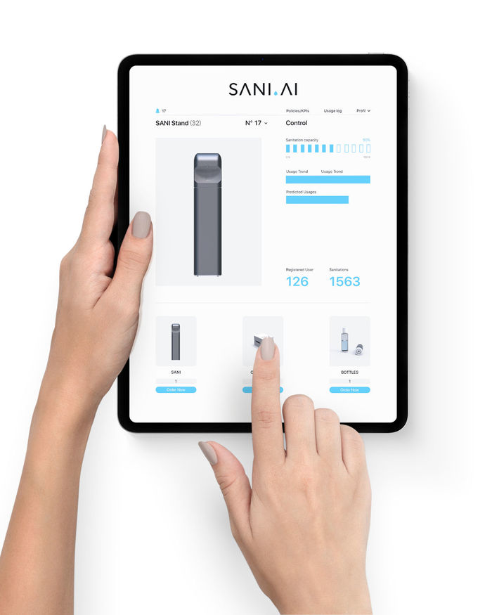 SANI.AI smart sanitizer dashboard on an iPad