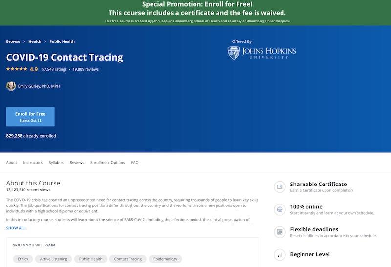 Screenshot of the John Hopkins COVID-19 courses
