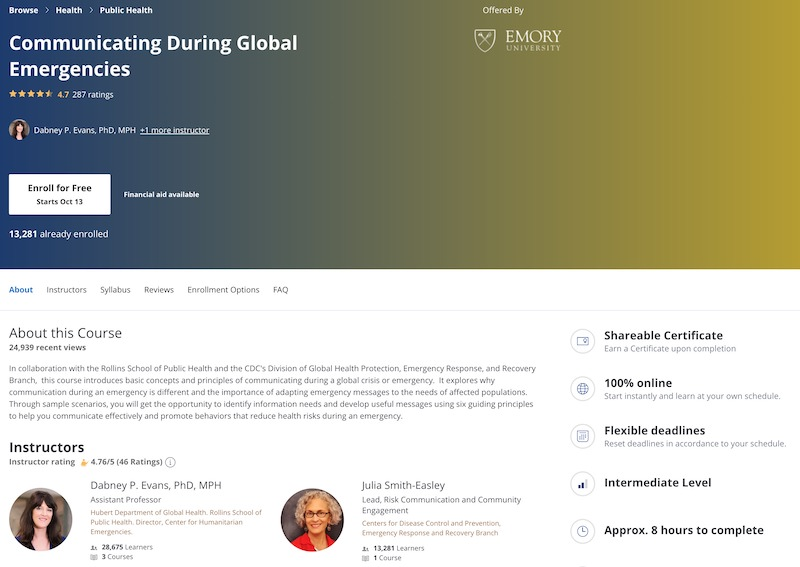 Screenshot of the Emory University global emergencies communication courses