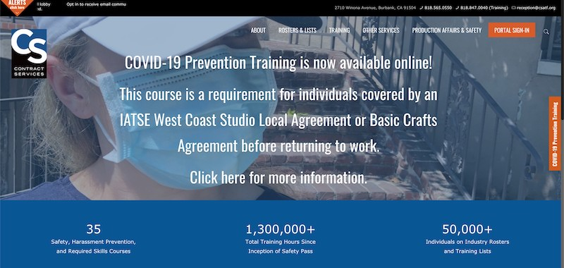 Screenshot of the COVID-19 Prevention Tracking courses
