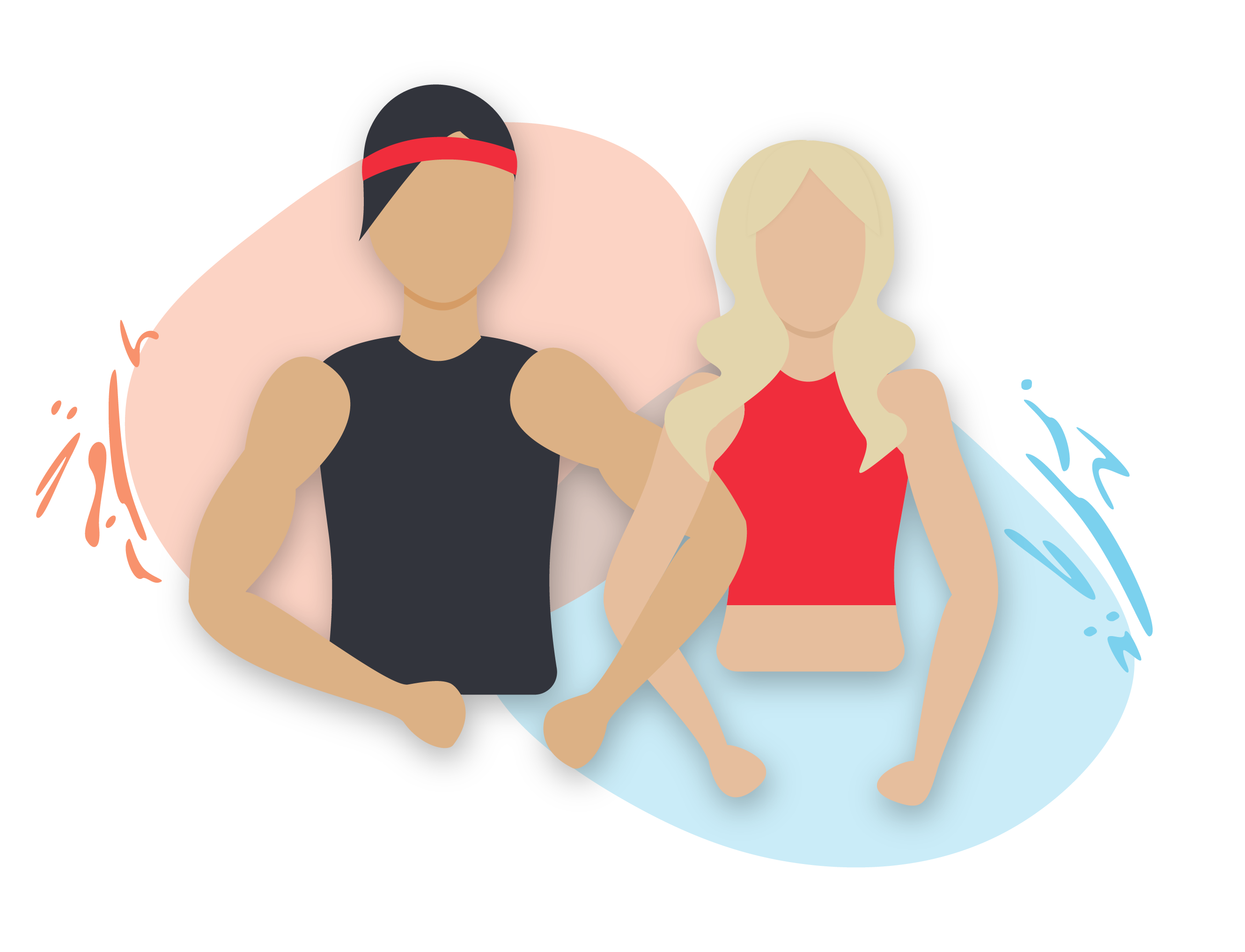 illustration of fitness man and woman