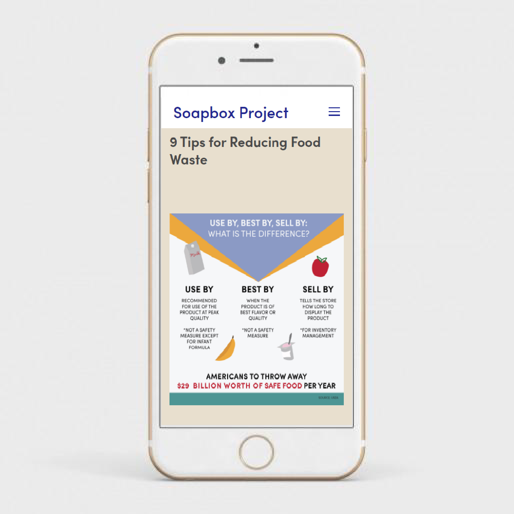 """Mockup of an iphone with """"9 tips to reduce food waste"""" infographic"""