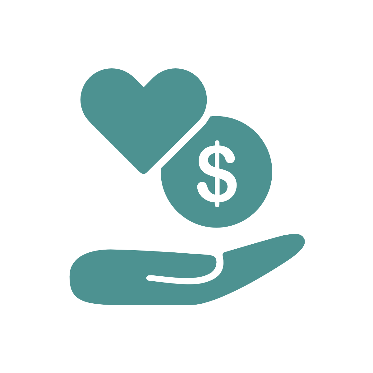 Donation icon with open hand, heart, and dollar sign