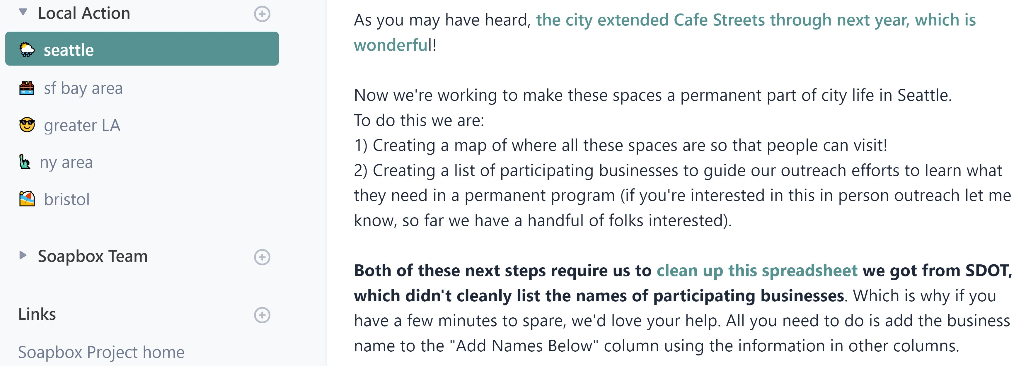 Screenshot from our community of hyperlocal urban planning advocacy to keep outdoor dining over parking spaces