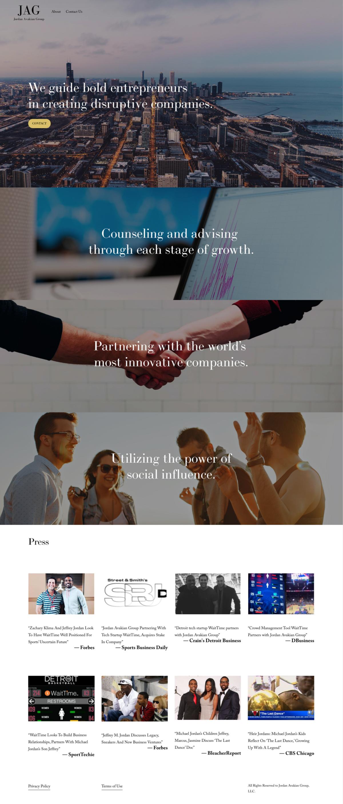 Voosh built a website for Jeffrey Jordan and Savan Avakian. JAG, Jordan Avakian Group. This is a mock of the website.